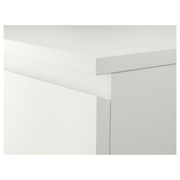 MALM Kommode mit 6 Schubladen, weiß/Spiegelglas, 40x123 cm
