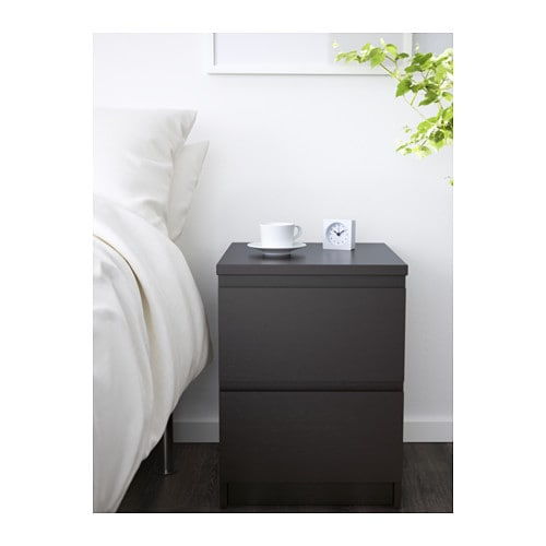 ikea malm kommode mit 2 schubladen schwarz nachtkonsole. Black Bedroom Furniture Sets. Home Design Ideas