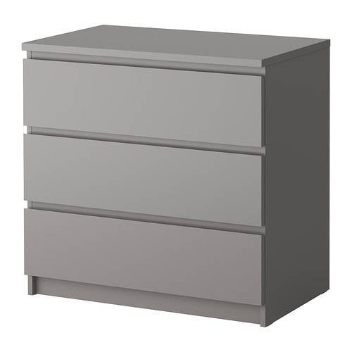 malm kommode mit 3 schubladen grau ikea. Black Bedroom Furniture Sets. Home Design Ideas