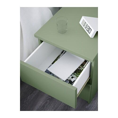 Ikea nachttisch malm  IKEA MALM Kommode mit 2 Schubladen grün Nachtkonsole Nachttisch ...