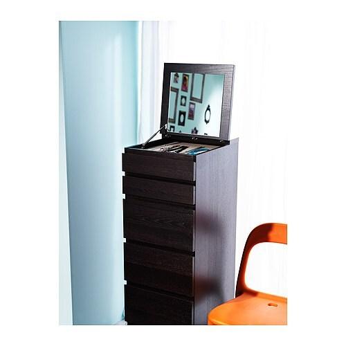 Malm Kommode Mit 6 Schubladen Weiss Spiegelglas Ikea