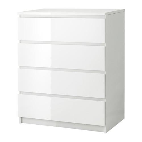 Kommode schmal ikea  MALM Kommode mit 4 Schubladen - weiß/Hochglanz - IKEA