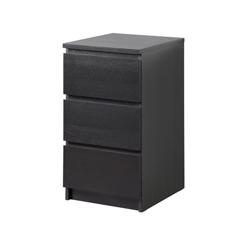 malm kommode mit 3 schubladen schwarzbraun ikea. Black Bedroom Furniture Sets. Home Design Ideas