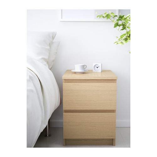 ikea malm kommode mit 2 schubladen eiche nachtkonsole nachttisch schrank neu ovp ebay. Black Bedroom Furniture Sets. Home Design Ideas