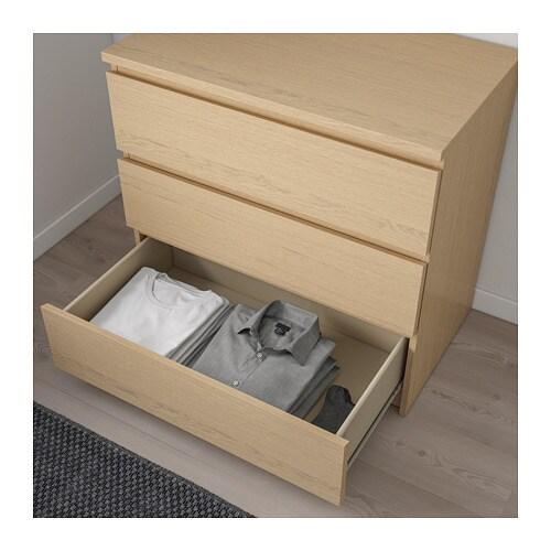 Malm Kommode Mit 3 Schubladen Weiss Ikea