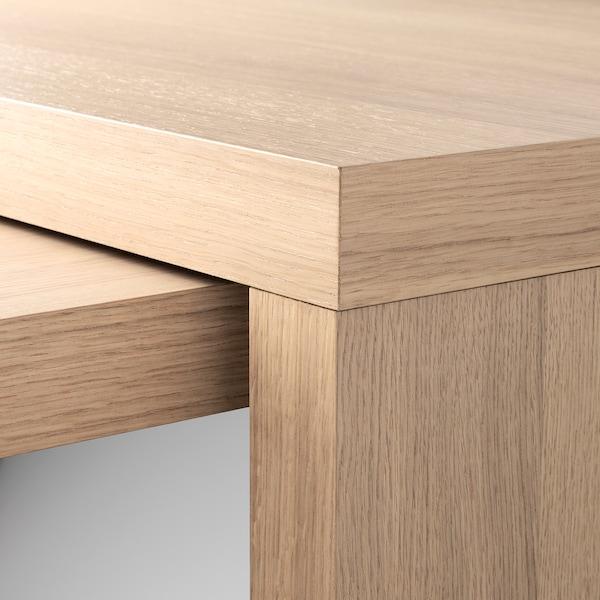MALM Schreibtisch mit Ausziehplatte, Eichenfurnier weiß lasiert, 151x65 cm