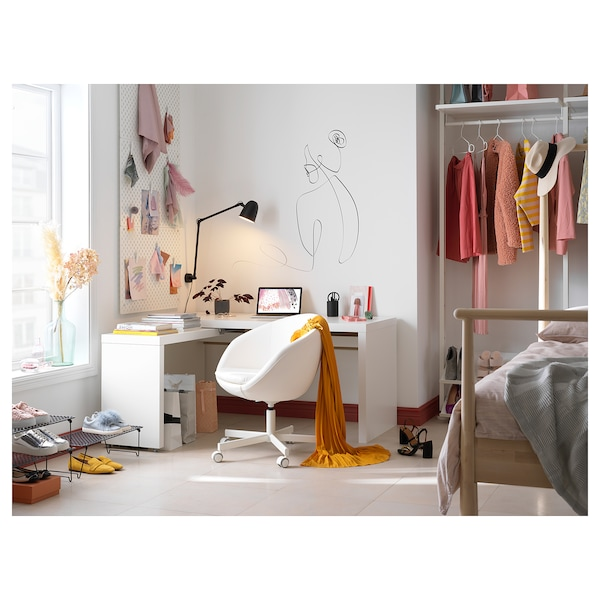 MALM Schreibtisch mit Ausziehplatte, weiß, 151x65 cm