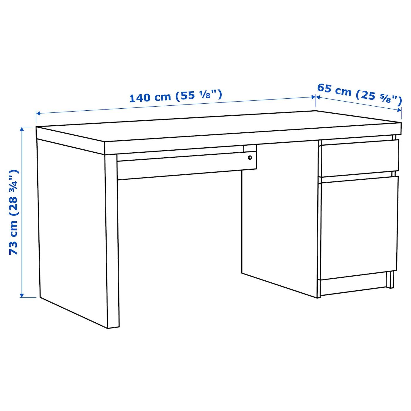 MALM Schreibtisch weiß 140x65 cm