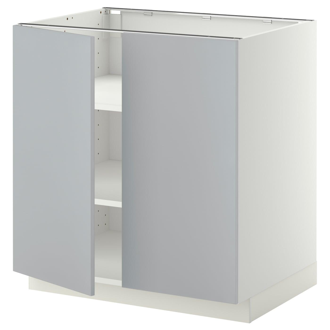 METOD Unterschrank m Böden/2Türen - weiß, Veddinge grau ...