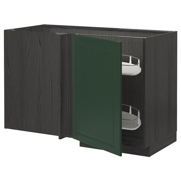 METOD Eckunterschrank ausziehb. Einricht., schwarz/Bodbyn dunkelgrün, 128x68 cm