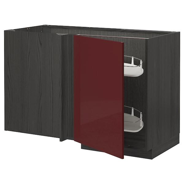 METOD Eckunterschrank ausziehb. Einricht., schwarz Kallarp/Hochglanz dunkel rotbraun, 128x68 cm