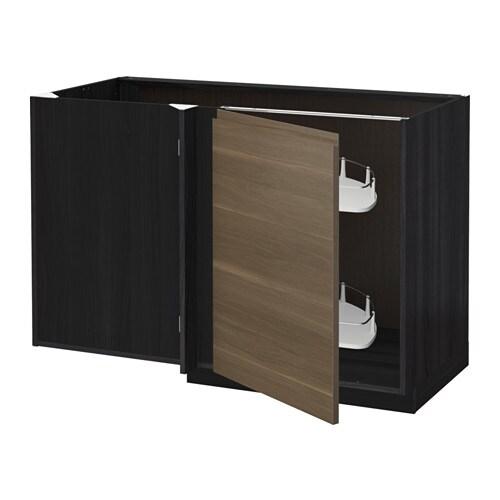 metod eckunterschrank ausziehb einricht holzeffekt schwarz voxtorp nussbaumnachbildung ikea. Black Bedroom Furniture Sets. Home Design Ideas