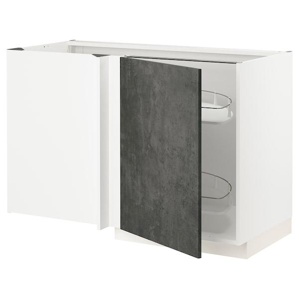 METOD Eckunterschrank ausziehb. Einricht., weiß/Kalhyttan Betonmuster dunkelgrau, 128x68 cm