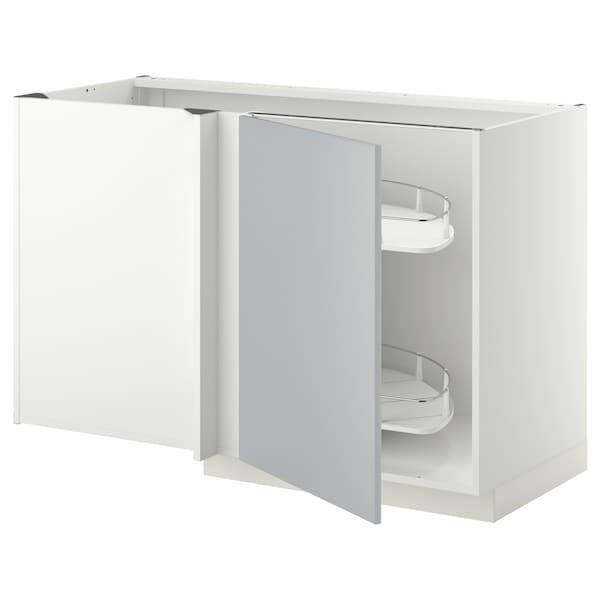 METOD Eckunterschrank ausziehb. Einricht., weiß/Veddinge grau, 128x68 cm