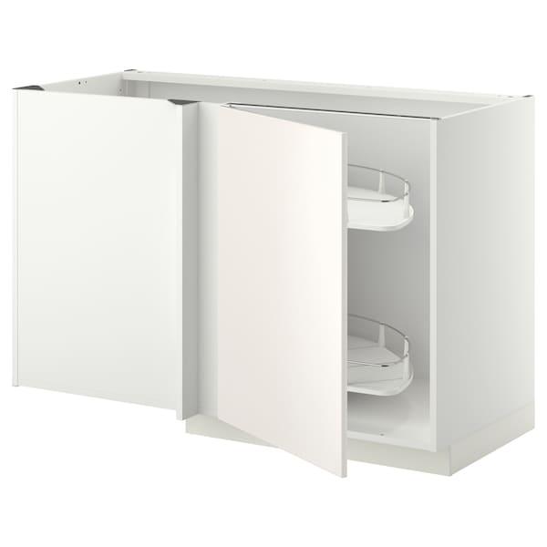 METOD Eckunterschrank ausziehb. Einricht., weiß/Veddinge weiß, 128x68 cm