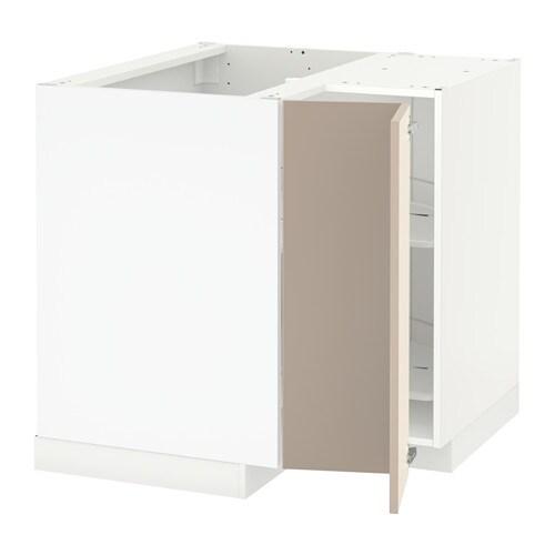 Metod Eckunterschrank Karussell Weiss Ubbalt Dunkelbeige Ikea