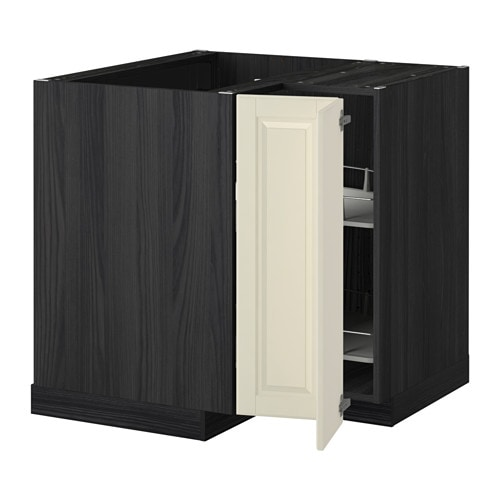 metod eckunterschrank karussell holzeffekt schwarz bodbyn elfenbeinwei ikea. Black Bedroom Furniture Sets. Home Design Ideas