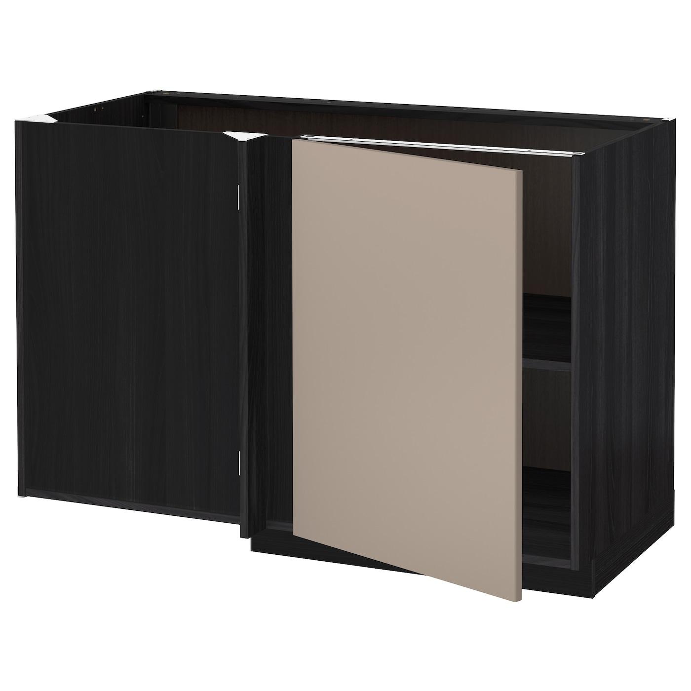 METOD, Eckunterschrank mit Boden, schwarz, dunkelbeige 391.165.61