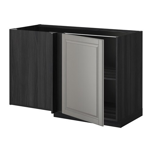metod eckunterschrank mit boden holzeffekt schwarz bodbyn grau ikea. Black Bedroom Furniture Sets. Home Design Ideas