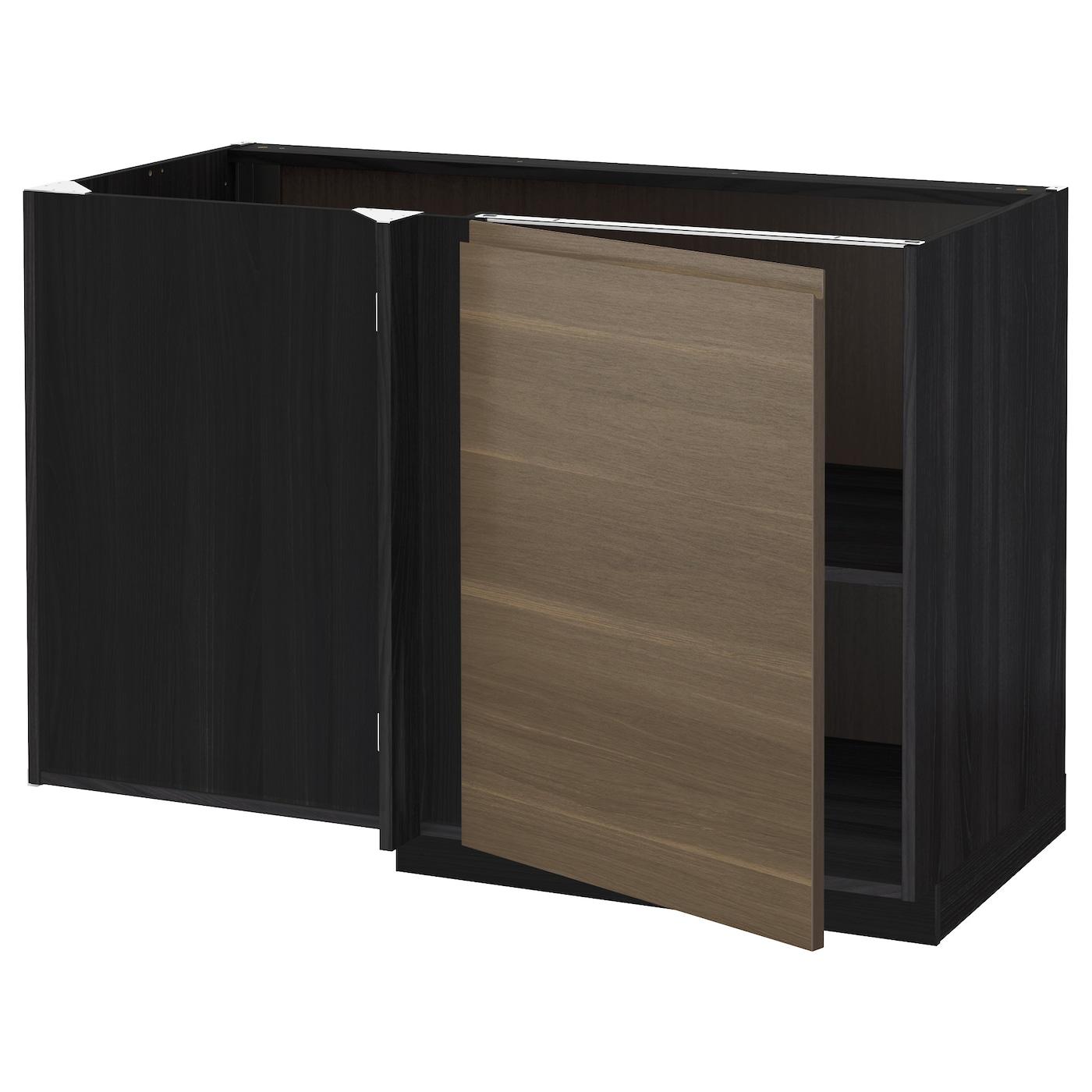 METOD, Eckunterschrank mit Boden, schwarz 491.157.97