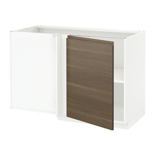 metod eckunterschrank mit boden wei voxtorp nussbaumnachbildung ikea. Black Bedroom Furniture Sets. Home Design Ideas