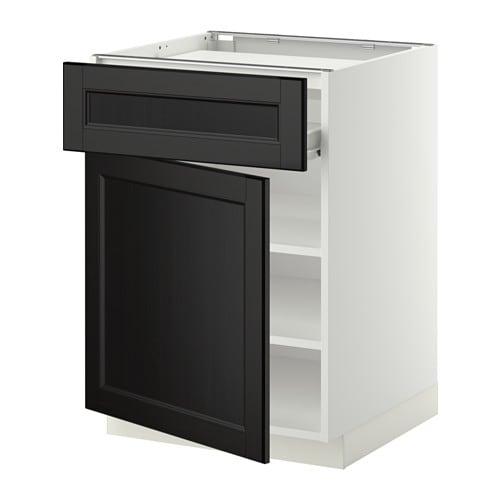 KochfSchublBödenTür  weiß, Laxarby schwarzbraun  IKEA