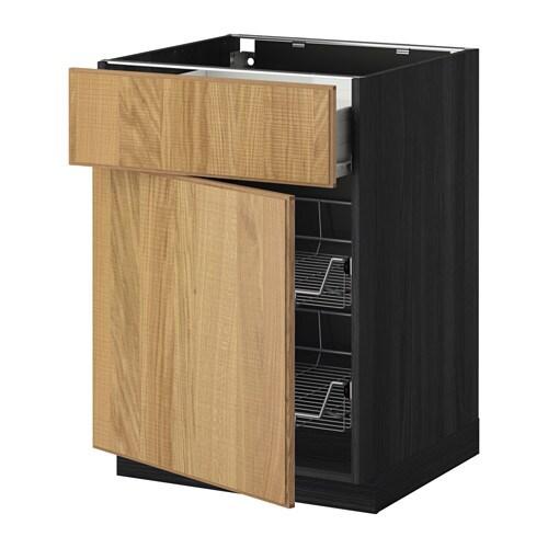 metod f rvara unterschrank mit drahtkorb t r holzeffekt schwarz hyttan eichenfurnier 60x60. Black Bedroom Furniture Sets. Home Design Ideas