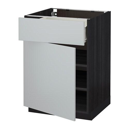 metod f rvara unterschrank mit schublade t r holzeffekt schwarz veddinge grau 60x60 cm ikea. Black Bedroom Furniture Sets. Home Design Ideas