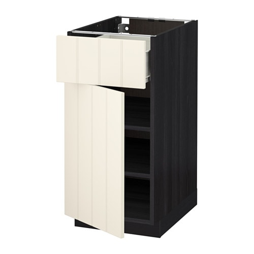 metod f rvara unterschrank mit schublade t r holzeffekt schwarz hittarp elfenbeinwei. Black Bedroom Furniture Sets. Home Design Ideas