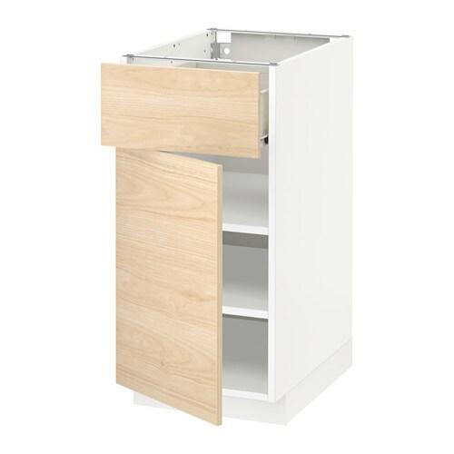 metod f rvara unterschrank mit schublade t r wei askersund eschenachbildung hell 40x60 cm. Black Bedroom Furniture Sets. Home Design Ideas