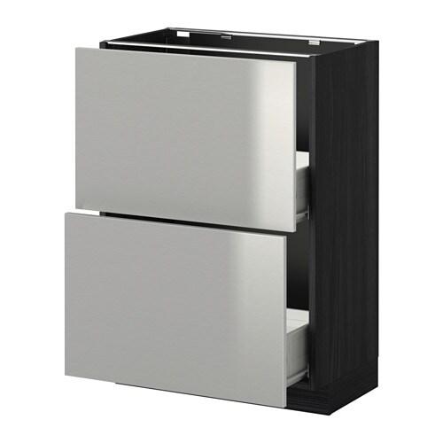 Vitrine Ikea Detolf Occasion ~ METOD  FÖRVARA Unterschrank mit 2 Schubladen  Grevsta Edelstahl