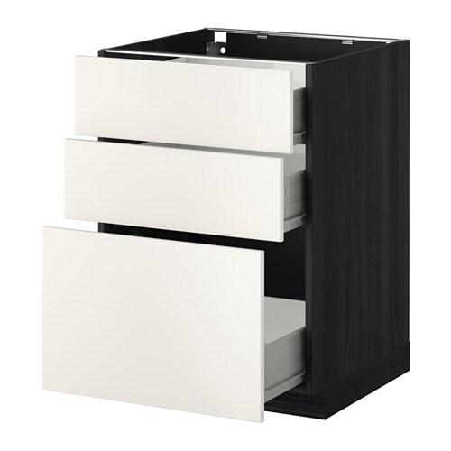 metod f rvara unterschrank mit 3 schubladen holzeffekt schwarz veddinge wei 60x60 cm ikea. Black Bedroom Furniture Sets. Home Design Ideas