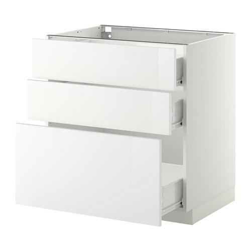 Ikea Hochstuhl Gulliver Preis ~ METOD  FÖRVARA Unterschrank mit 3 Schubladen  Ringhult Hochglanz