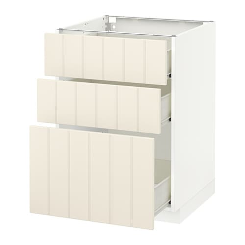 metod f rvara unterschrank mit 3 schubladen wei hittarp elfenbeinwei 60x60 cm ikea. Black Bedroom Furniture Sets. Home Design Ideas