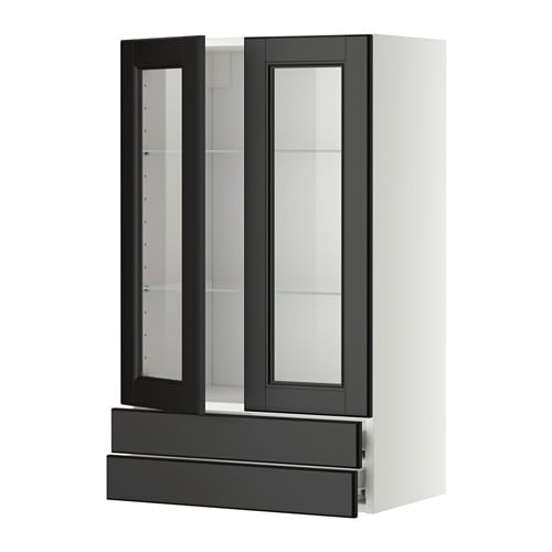 Glastüren2 Schubl  weiß, Laxarby schwarzbraun, 60×100 cm  IKEA