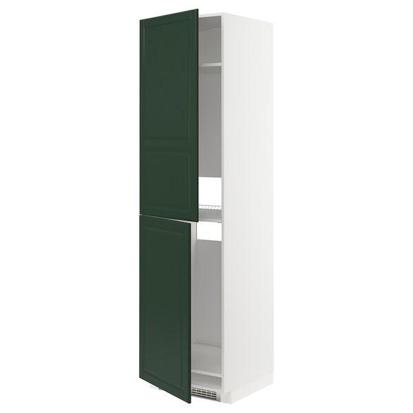 METOD Hochschrank f Kühl-/Gefrierschrank weiß/Bodbyn dunkelgrün 60.0 cm 61.9 cm 228.0 cm 60.0 cm 220.0 cm