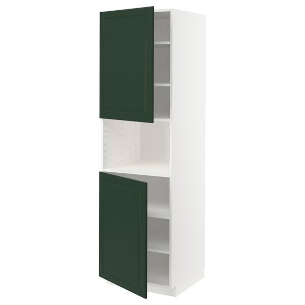 METOD Hochschr. f Mikrow.+2Türen/Bö, weiß/Bodbyn dunkelgrün, 60x60x200 cm
