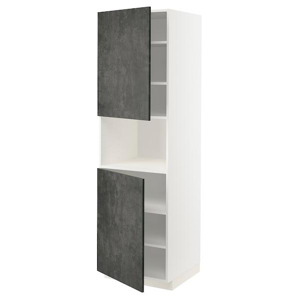 METOD Hochschr. f Mikrow.+2Türen/Bö, weiß/Kalhyttan Betonmuster dunkelgrau, 60x60x200 cm