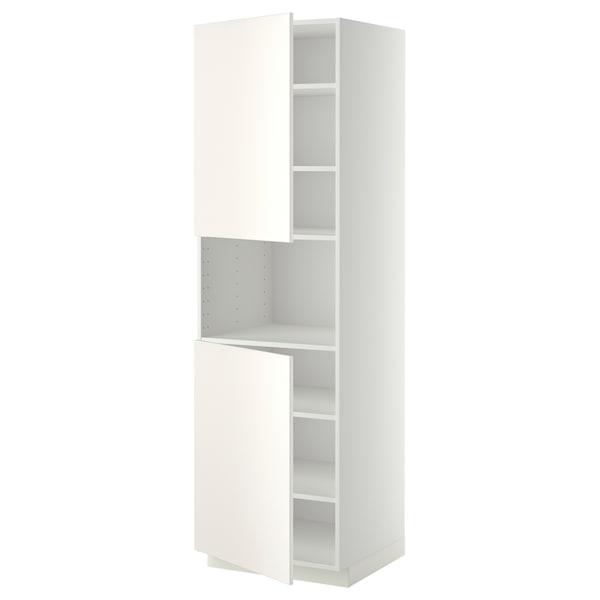 METOD Hochschr. f Mikrow.+2Türen/Bö, weiß/Veddinge weiß, 60x60x200 cm