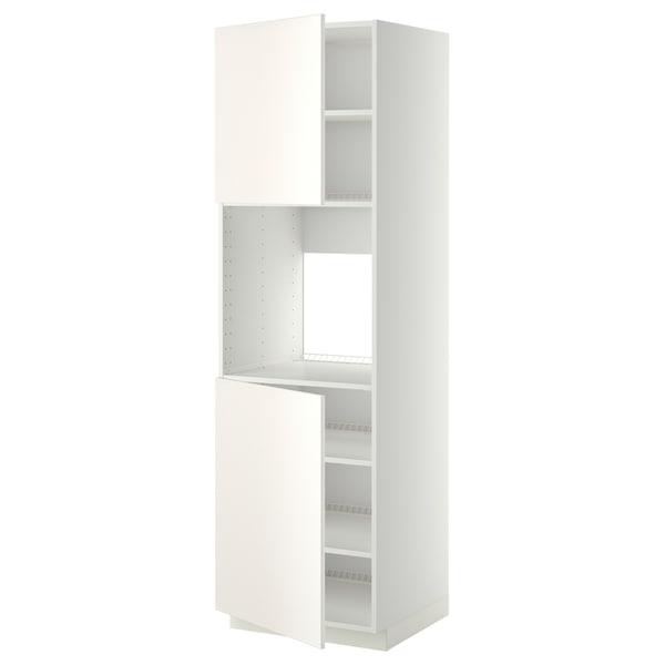 METOD Hochschr. f Ofen+2 Türen/Böden, weiß/Veddinge weiß, 60x60x200 cm