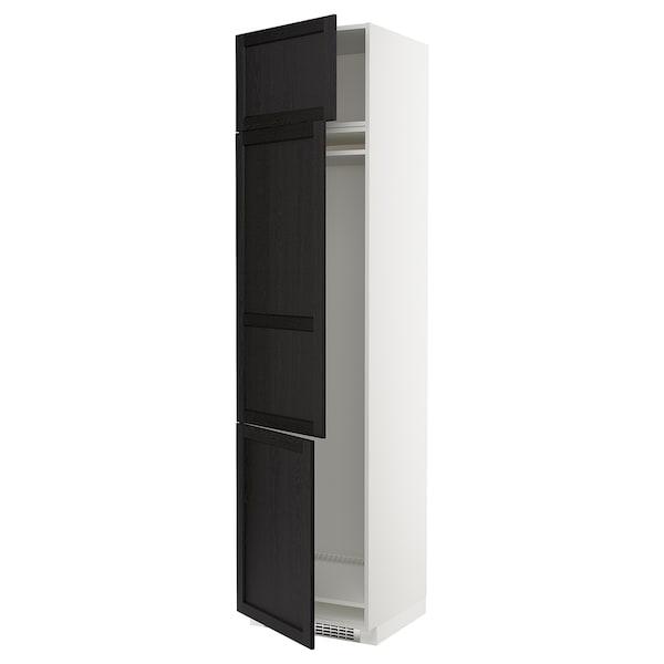 METOD Hochschrank f Kühl/Gefrierschr+3Tür, weiß/Lerhyttan schwarz lasiert, 60x60x240 cm