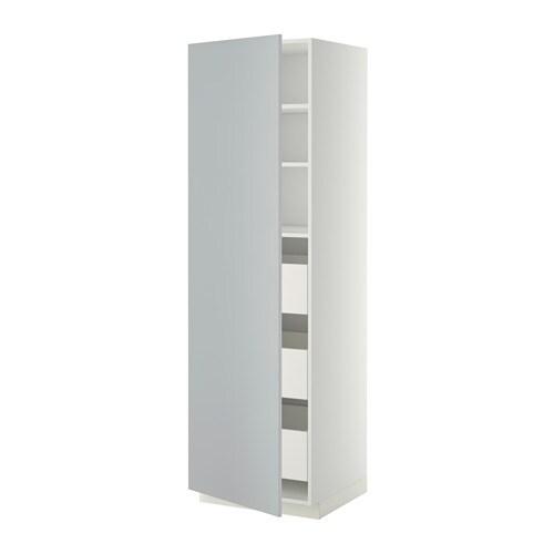 metod hochschrank m schubladen wei veddinge grau 60x60x200 cm ikea. Black Bedroom Furniture Sets. Home Design Ideas