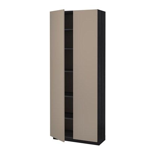 metod hochschrank mit einlegeb den holzeffekt schwarz ubbalt dunkelbeige 80x37x200 cm ikea. Black Bedroom Furniture Sets. Home Design Ideas