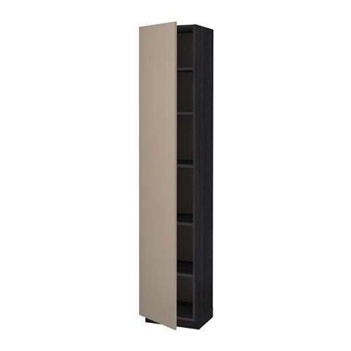 metod hochschrank mit einlegeb den holzeffekt schwarz ubbalt dunkelbeige 40x37x200 cm ikea. Black Bedroom Furniture Sets. Home Design Ideas