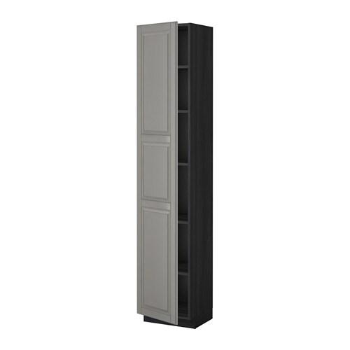 metod hochschrank mit einlegeb den holzeffekt schwarz bodbyn grau 40x37x200 cm ikea. Black Bedroom Furniture Sets. Home Design Ideas