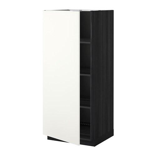 metod hochschrank mit einlegeb den holzeffekt schwarz h ggeby wei ikea. Black Bedroom Furniture Sets. Home Design Ideas