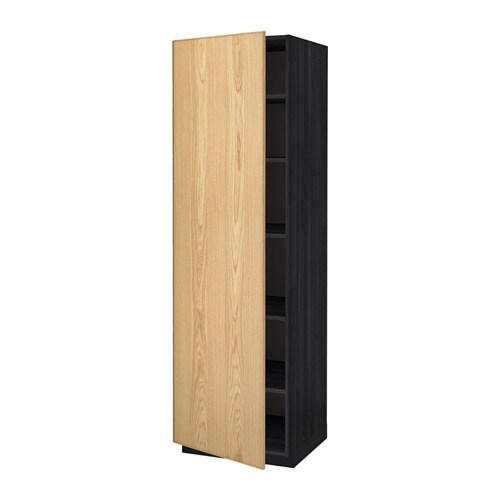 metod hochschrank mit einlegeb den holzeffekt schwarz ekestad eiche 60x60x200 cm ikea. Black Bedroom Furniture Sets. Home Design Ideas