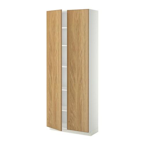 metod hochschrank mit einlegeb den wei hyttan eichenfurnier 80x37x200 cm ikea. Black Bedroom Furniture Sets. Home Design Ideas