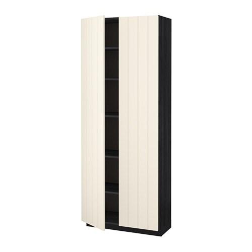 metod hochschrank mit einlegeb den holzeffekt schwarz hittarp elfenbeinwei 80x37x200 cm ikea. Black Bedroom Furniture Sets. Home Design Ideas