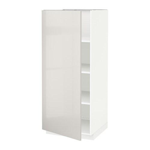 metod hochschrank mit einlegeb den wei ringhult hochglanz hellgrau ikea. Black Bedroom Furniture Sets. Home Design Ideas